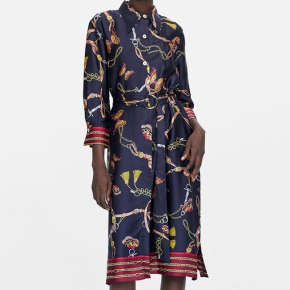32129d9cb8 Zara chain printed shirt dress. NWT